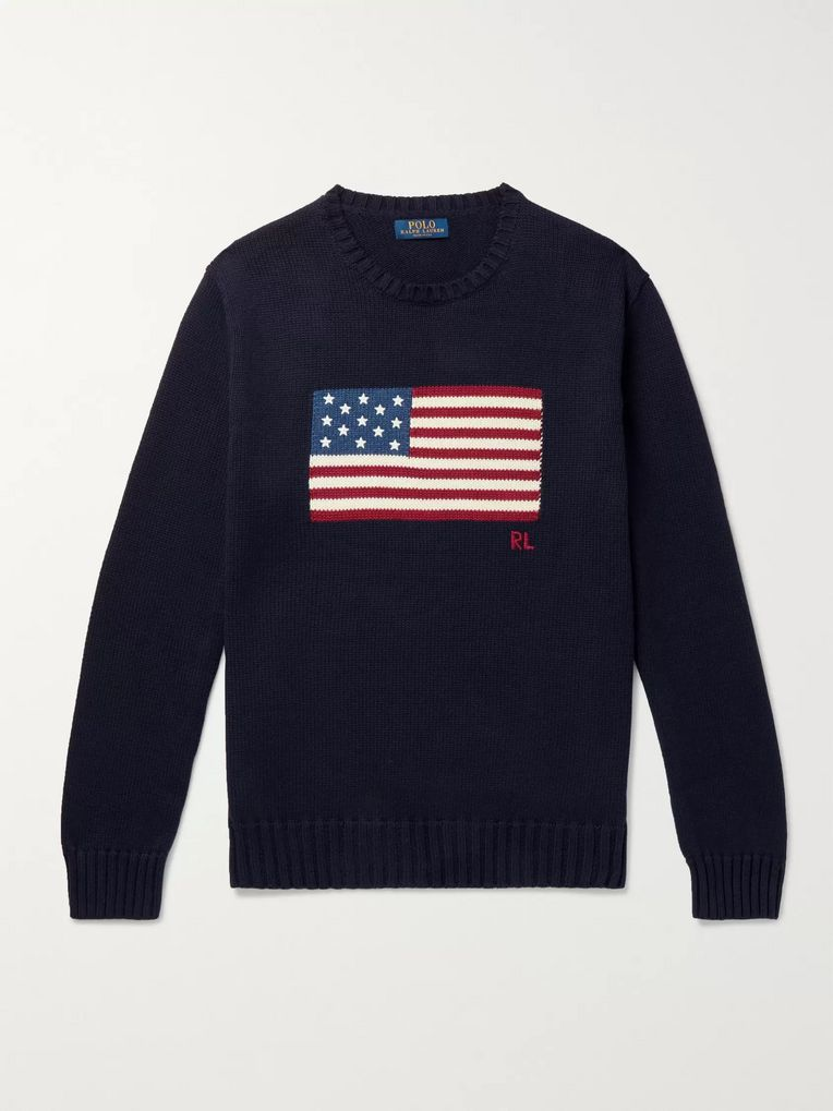 Polo Ralph Lauren Embroidered Intarsia Cotton Sweater