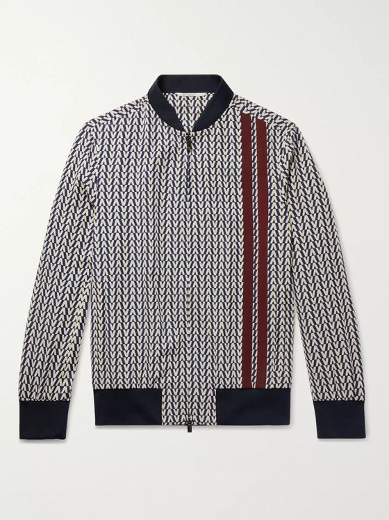 Valentino Logo-Print Virgin Wool-Twill Zip-Up Sweatshirt