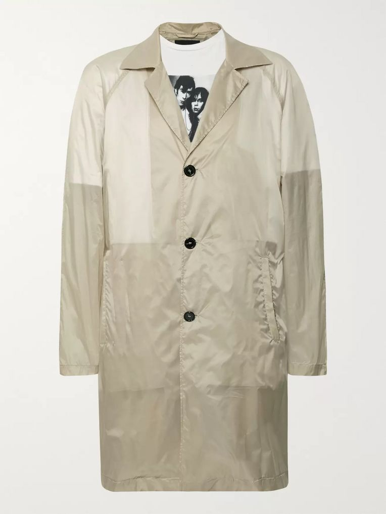 Raf Simons Layered Printed Cotton-Jersey and Shell Raincoat