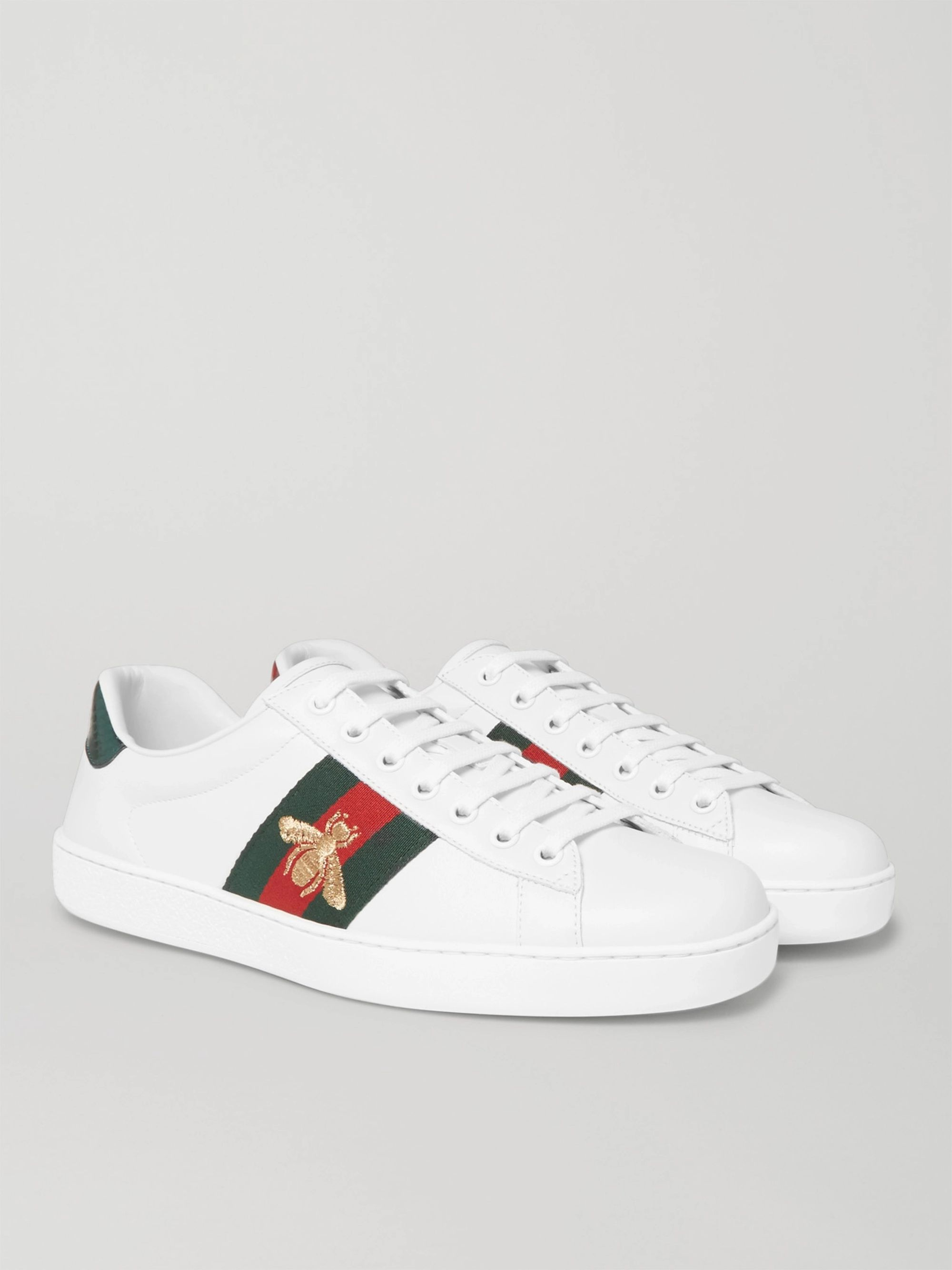 구찌 Gucci White Ace Watersnake-Trimmed Embroidered Leather Sneakers,White