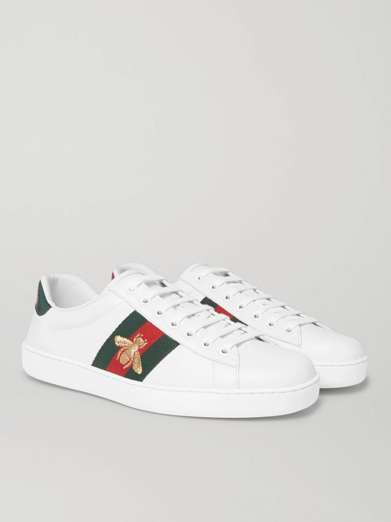 Gucci Ace Watersnake-Trimmed Embroidered Leather Sneakers