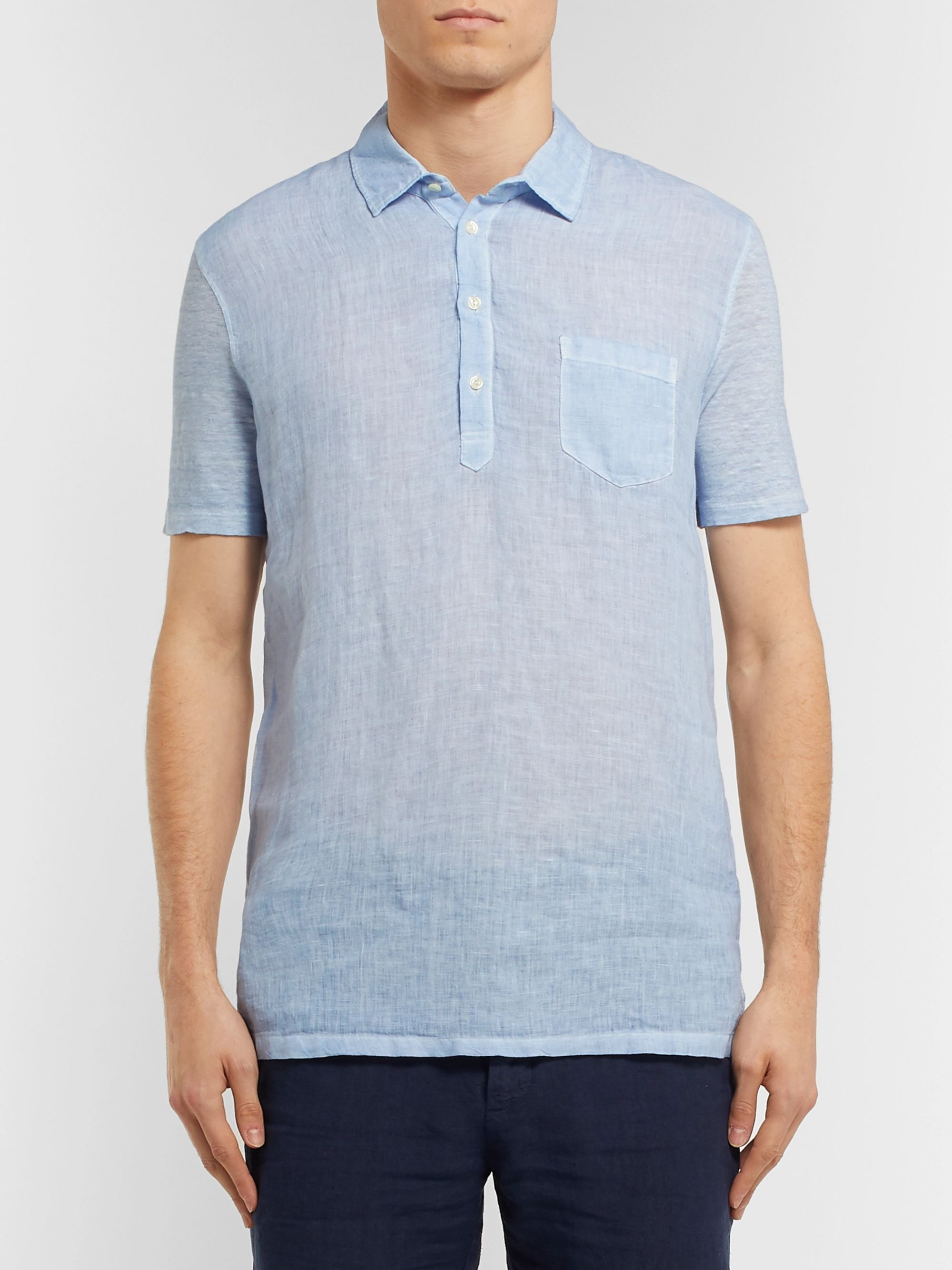 120% Slub Linen Polo Shirt