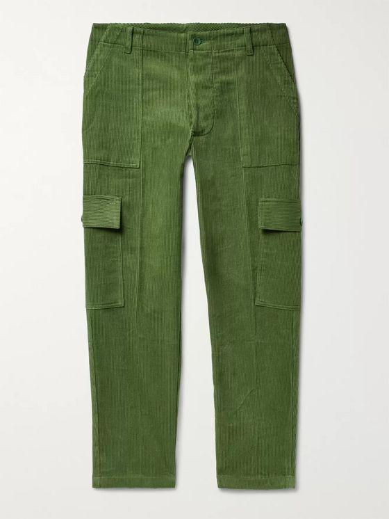 The Elder Statesman Tapered Cotton-Corduroy Cargo Trousers