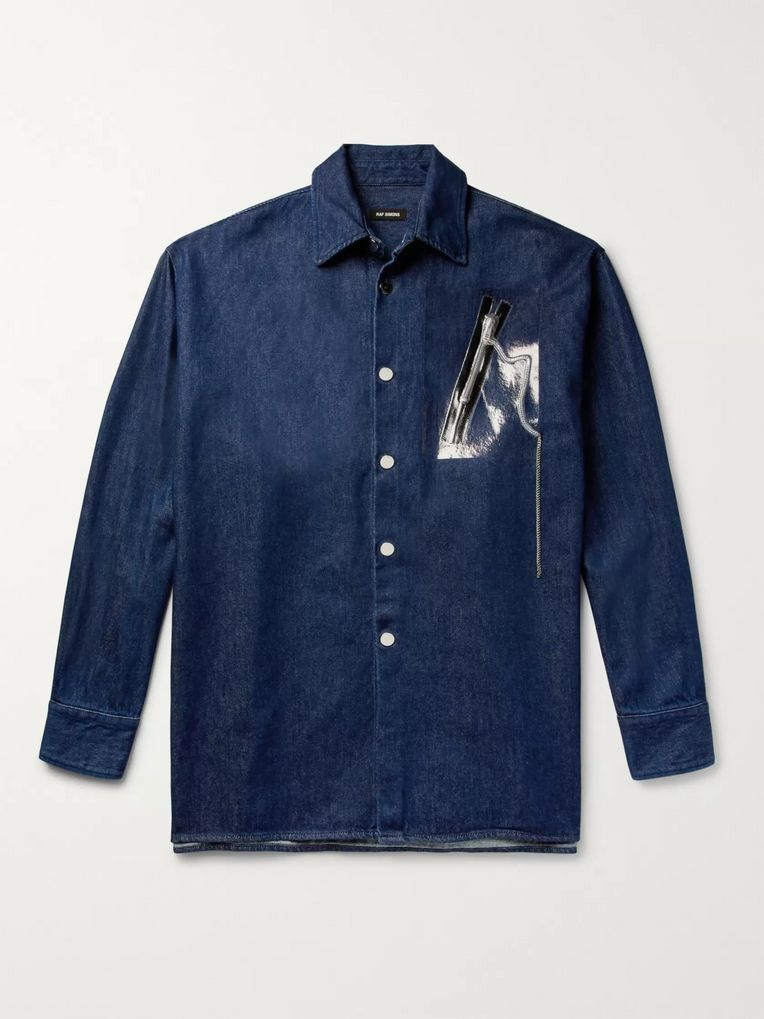 Raf Simons Oversized Embellished Denim Overshirt