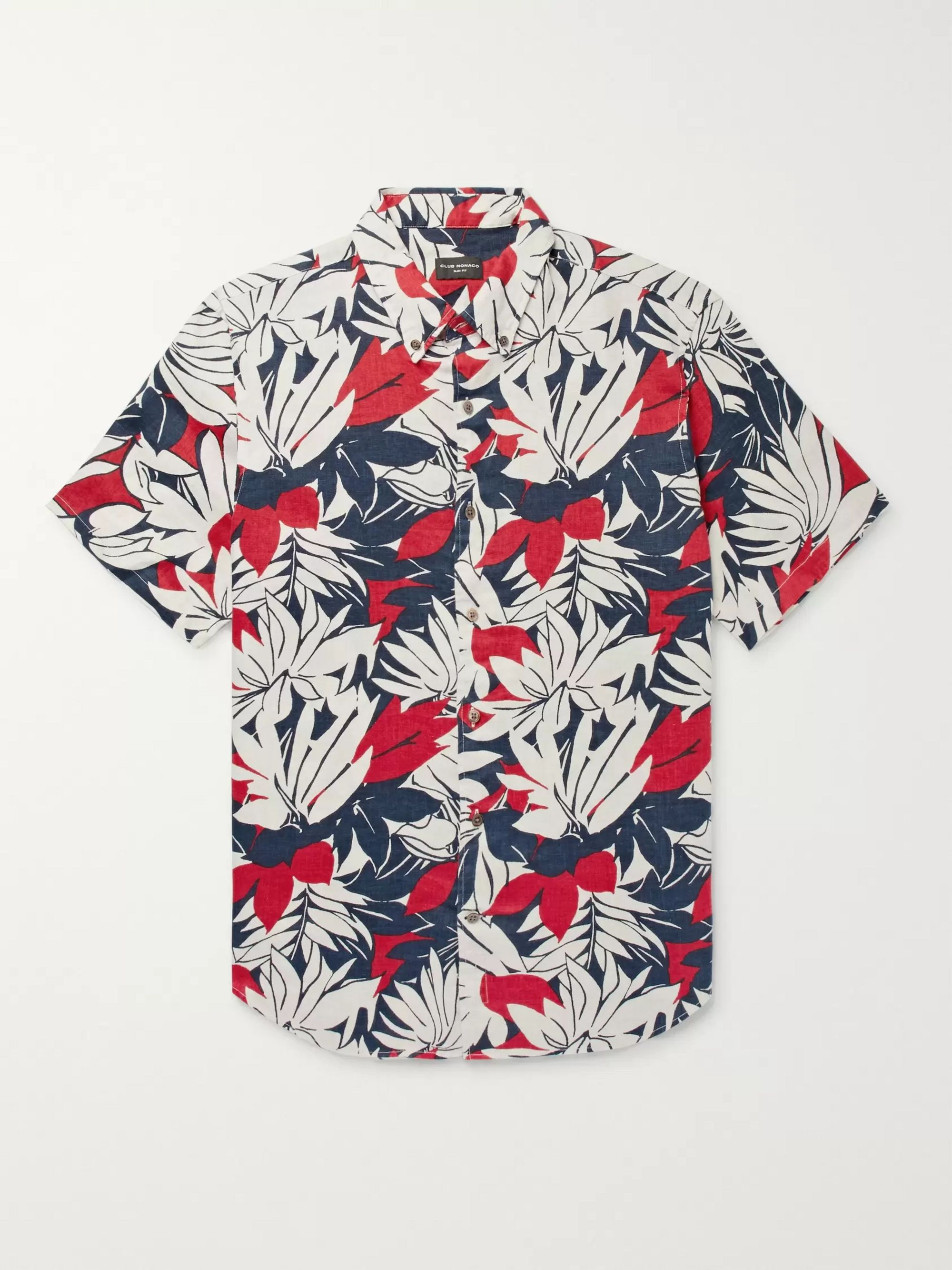 Club Monaco Slim-Fit Button-Down Collar Floral-Print Linen Shirt