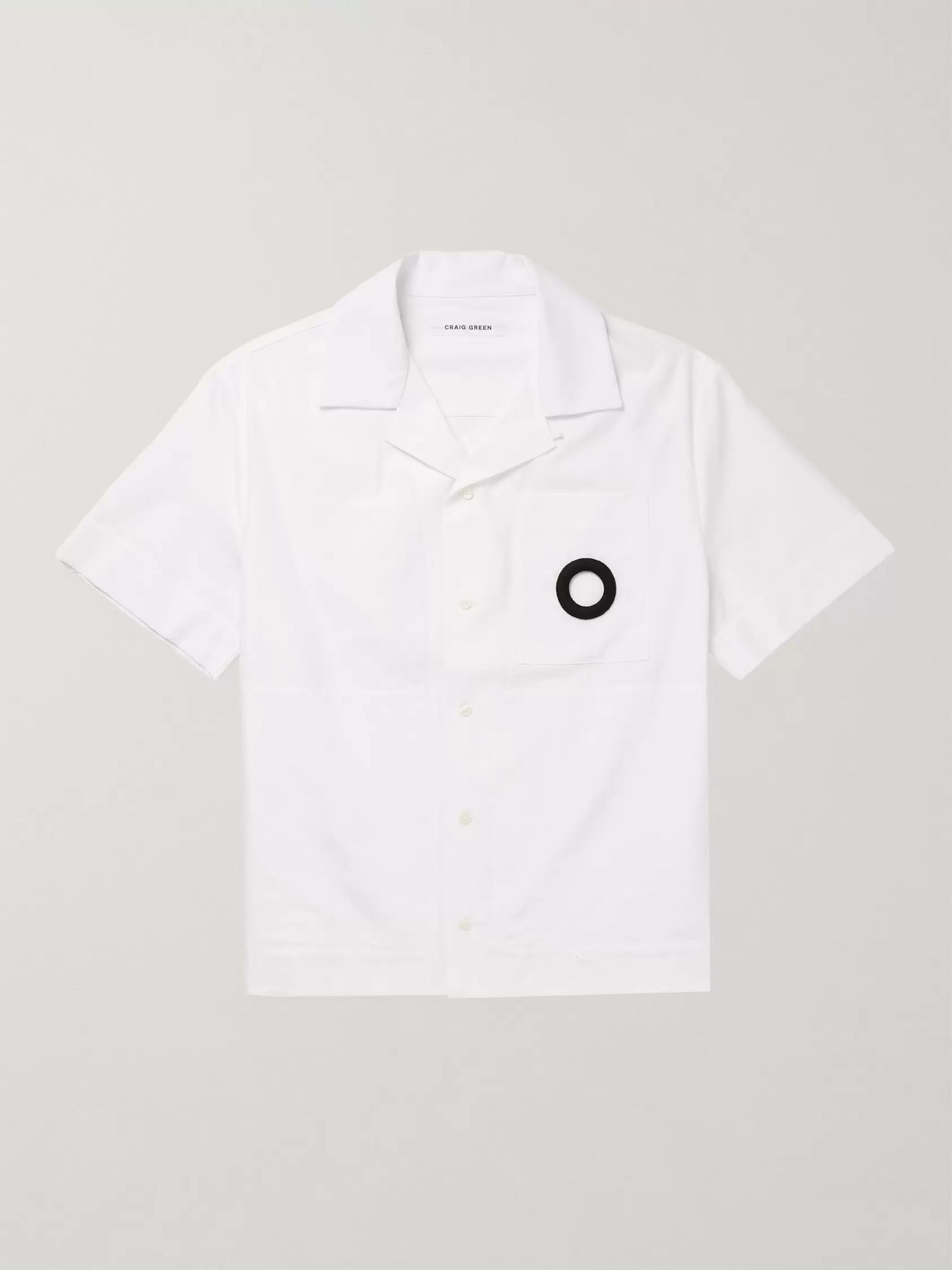 Craig Green Camp-Collar Embroidered Cotton-Poplin Shirt