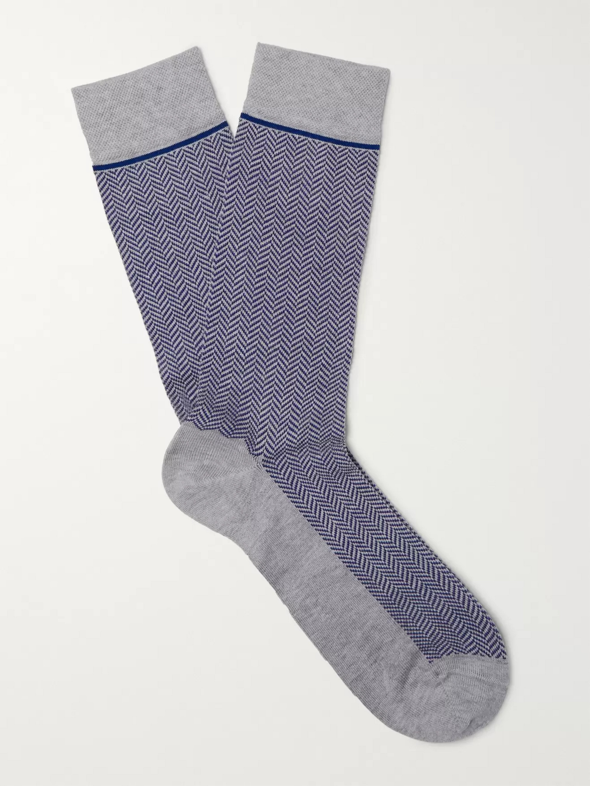 Marcoliani Herringbone Pima Cotton-Blend Socks
