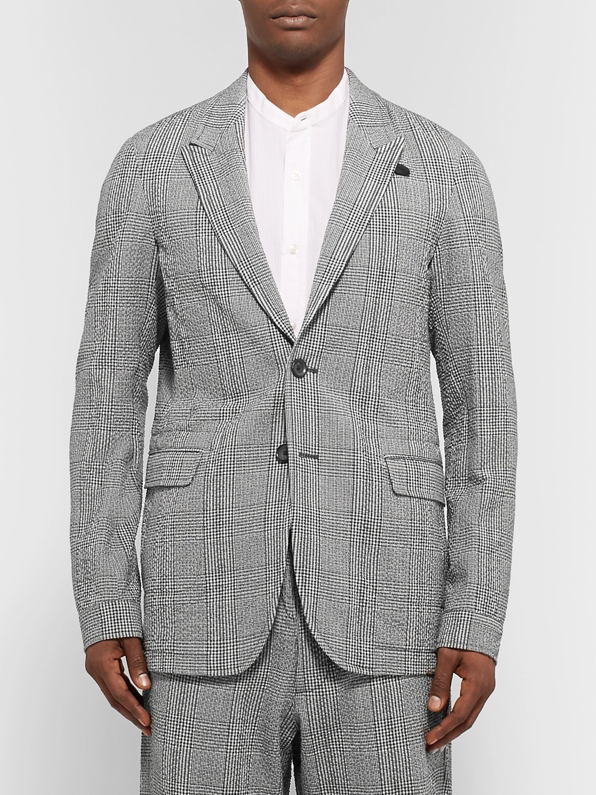 Oliver Spencer Midnight-Blue Brookes Slim-Fit Checked Cotton-Blend Seersucker Suit Jacket
