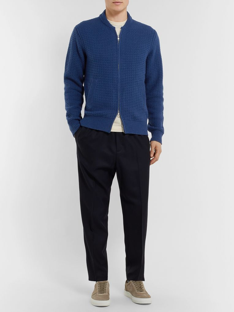 Mr P. Waffle-Knit Wool and Cashmere-Blend Bomber Jacket