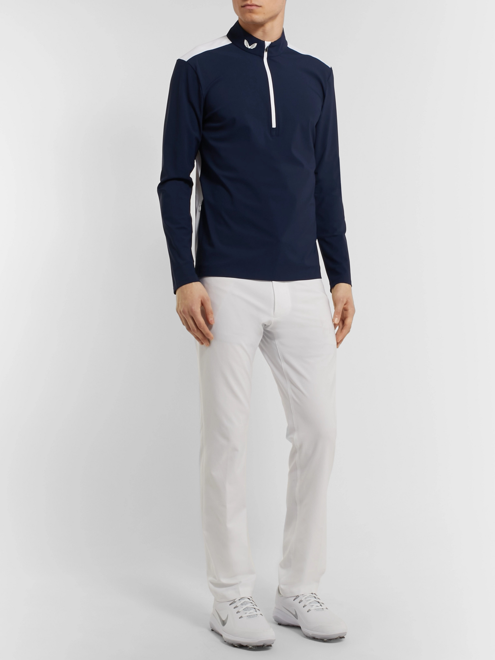 CASTORE Slim-Fit Colour-Block Stretch-Jersey Half-Zip Golf Top