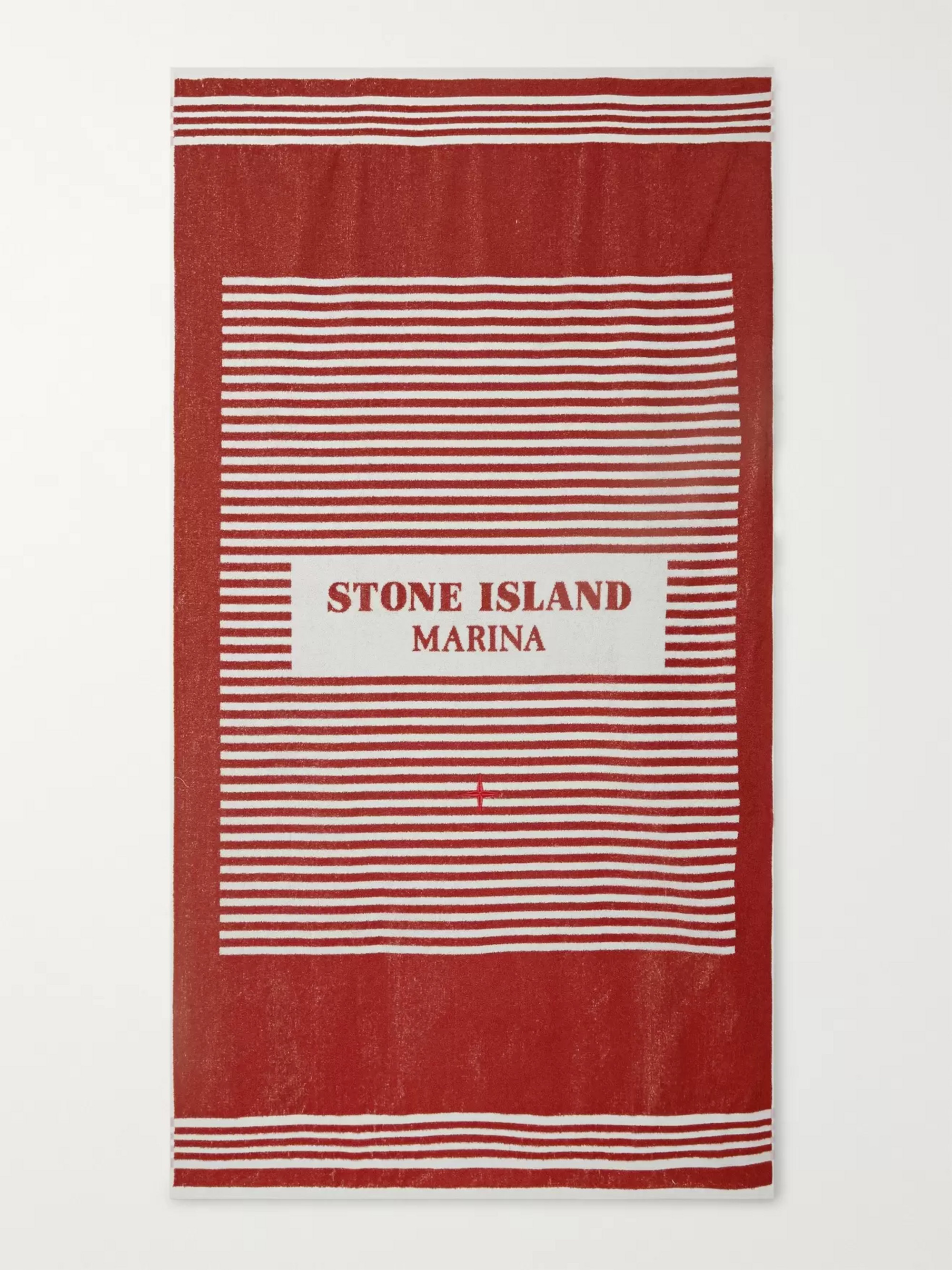 Stone Island Logo-Print Striped Cotton-Terry Beach Towel