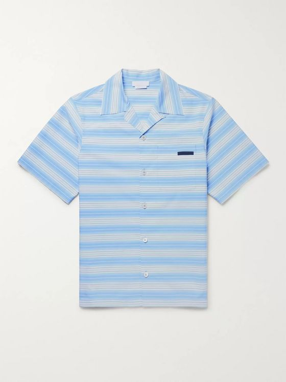 Prada Camp-Collar Striped Cotton-Poplin Shirt