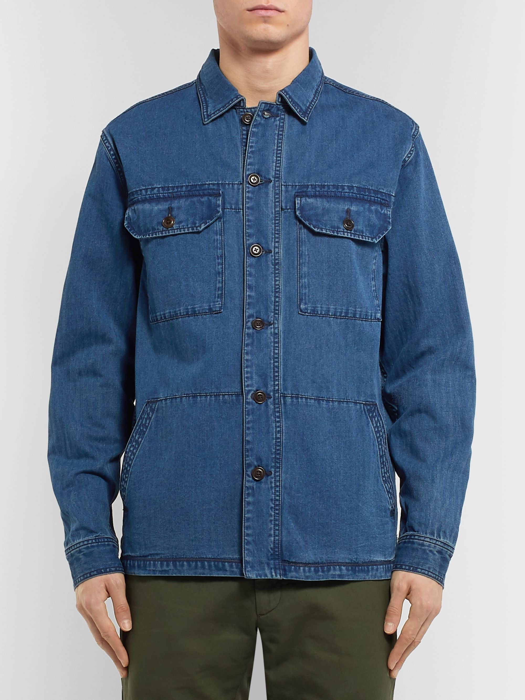 Faherty Corporal Indigo-Dyed Denim Shirt Jacket