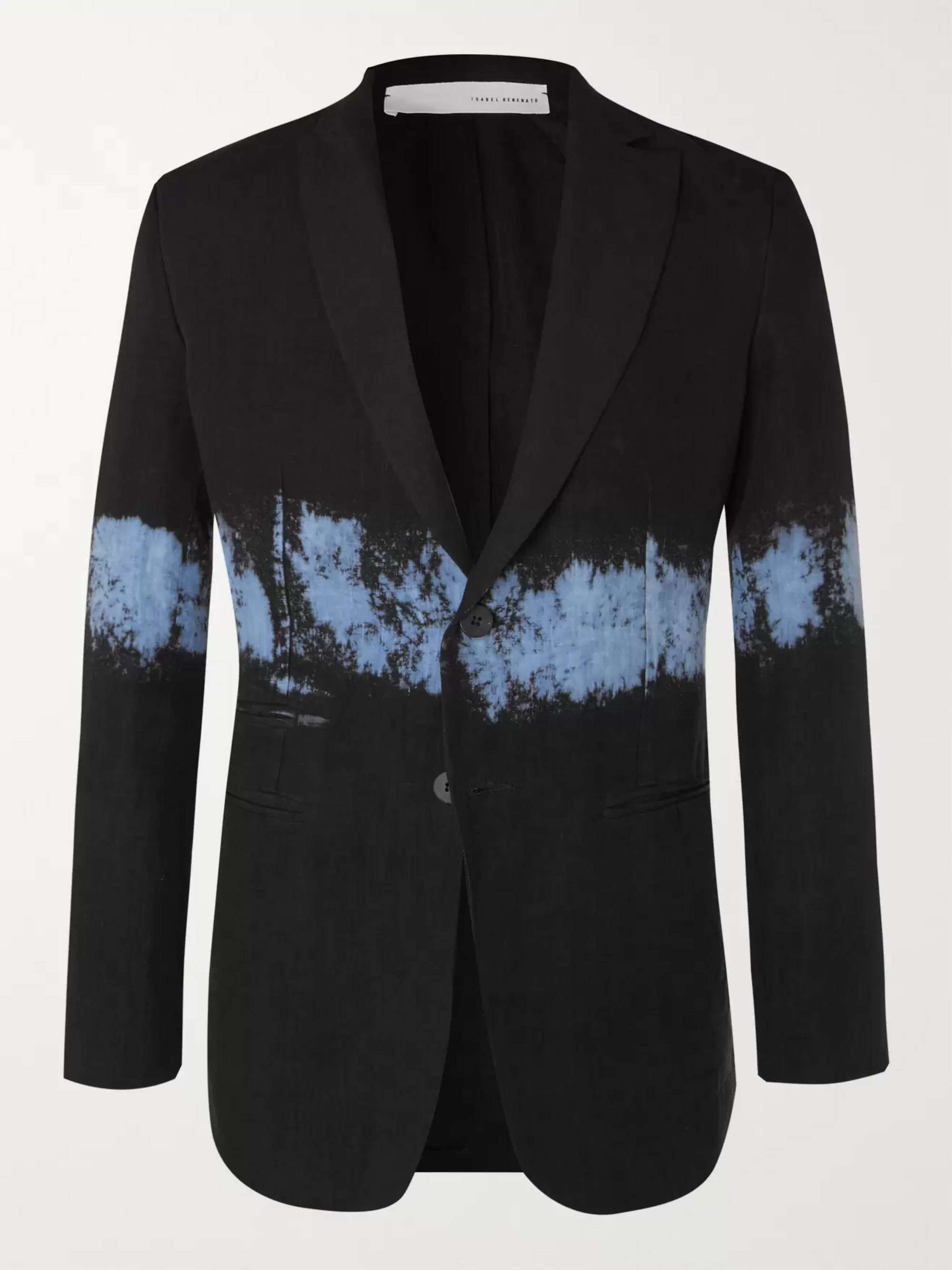 Isabel Benenato Black Slim-Fit Dip-Dyed Unstructured Linen Blazer