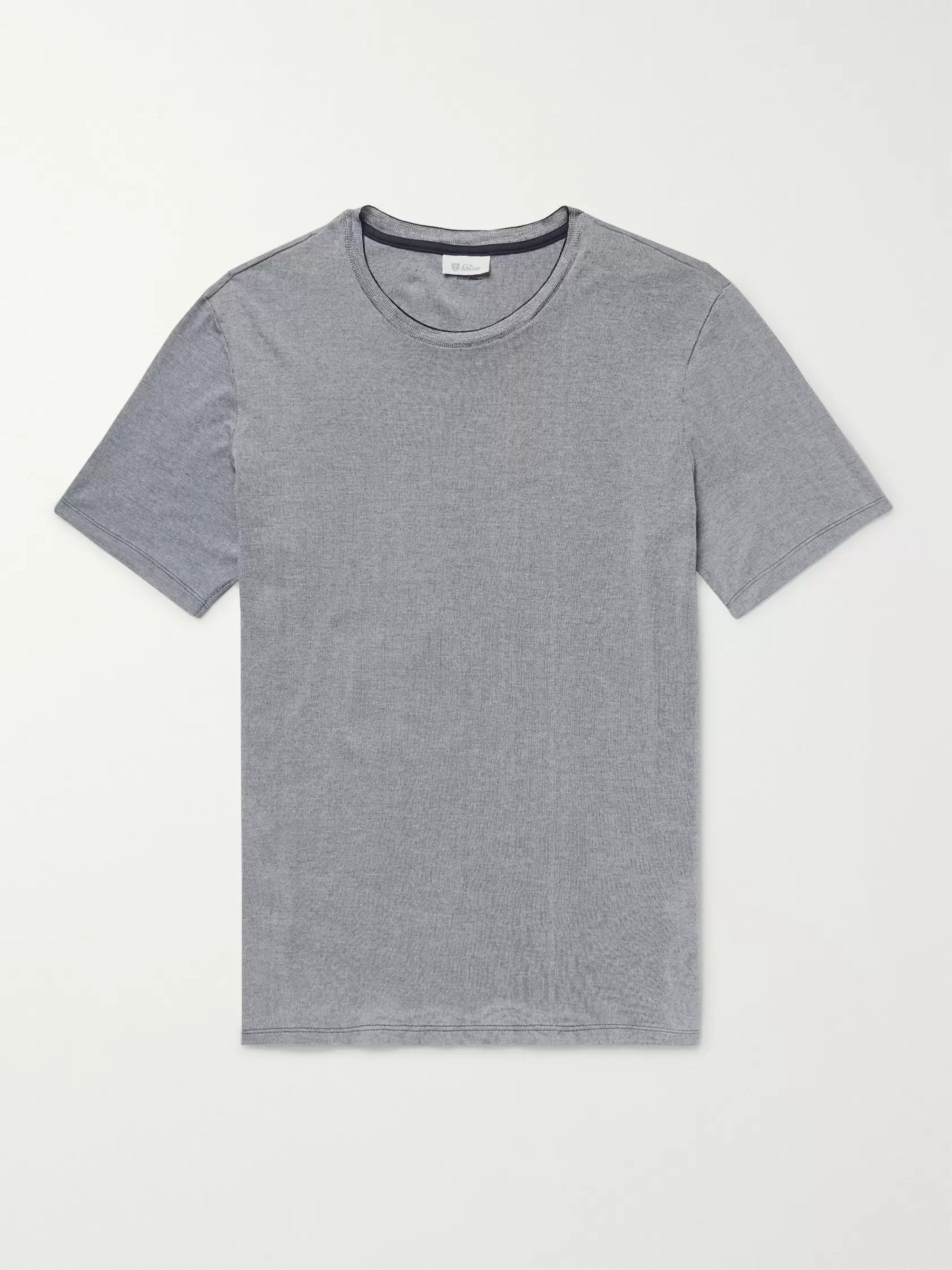 Schiesser Arnold Striped Cotton-Jersey T-Shirt