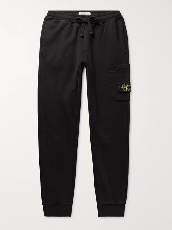 Stone Island Slim-Fit Logo-Appliquéd Tapered Loopback Cotton-Jersey Sweatpants