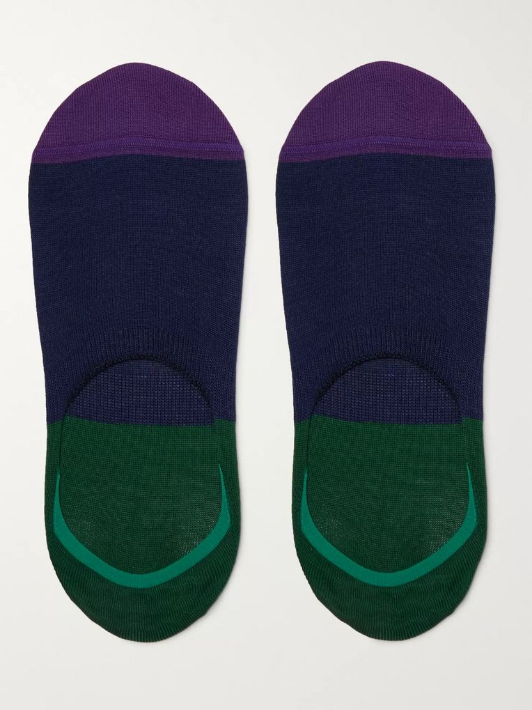 Paul Smith Colour-Block Mercerised Stretch Cotton-Blend No-Show Socks