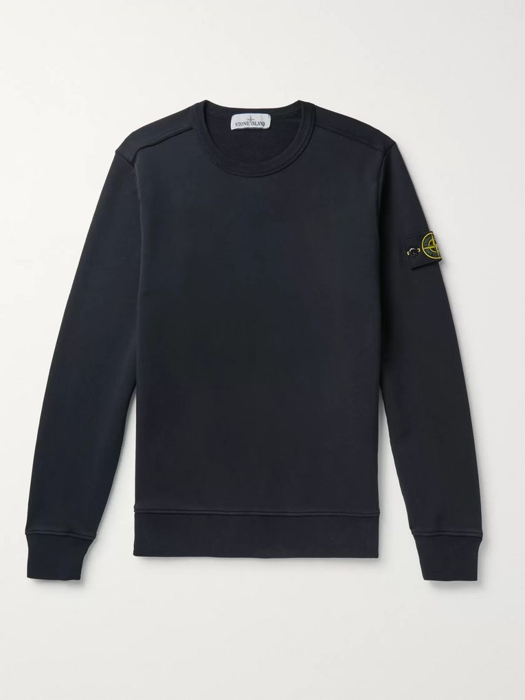 Stone Island Logo-Appliquéd Fleece-Back Cotton-Jersey Sweatshirt