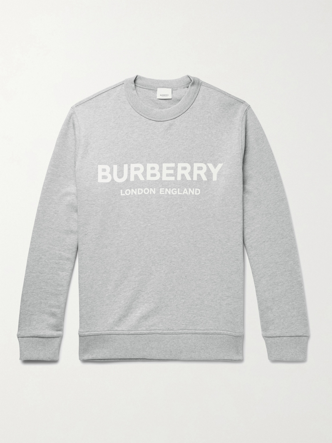 Burberry Logo-print MÉlange Loopback Cotton-jersey Sweatshirt In Pale Grey Melange