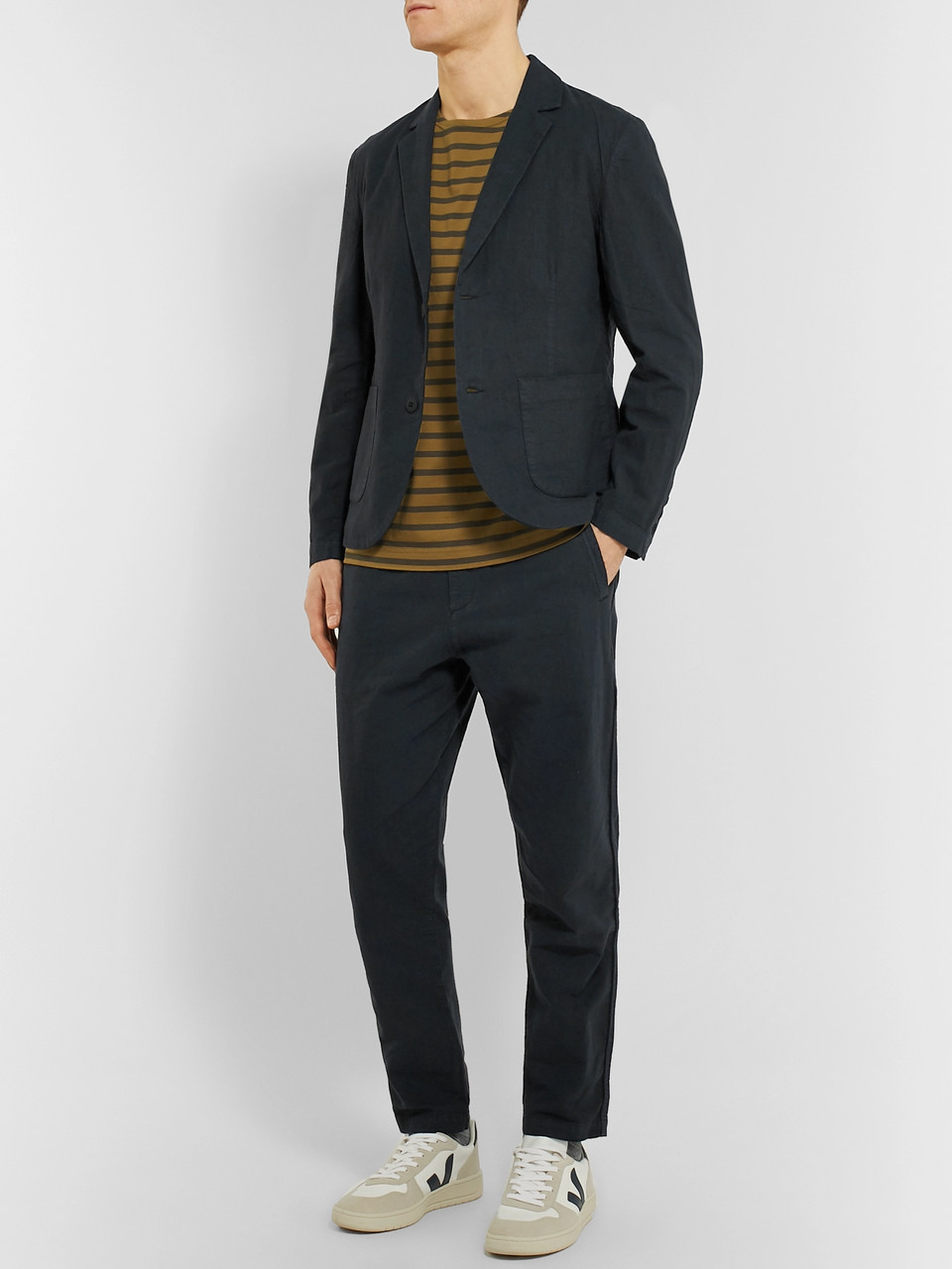 Folk Navy Slim-Fit Tapered Linen and Cotton-Blend Suit Trousers