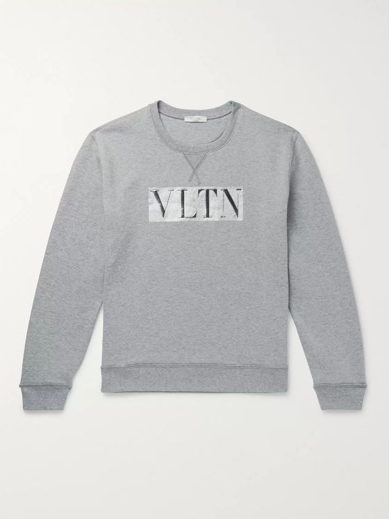 Valentino Metallic Logo-Print Loopback Cotton-Blend Jersey Sweatshirt