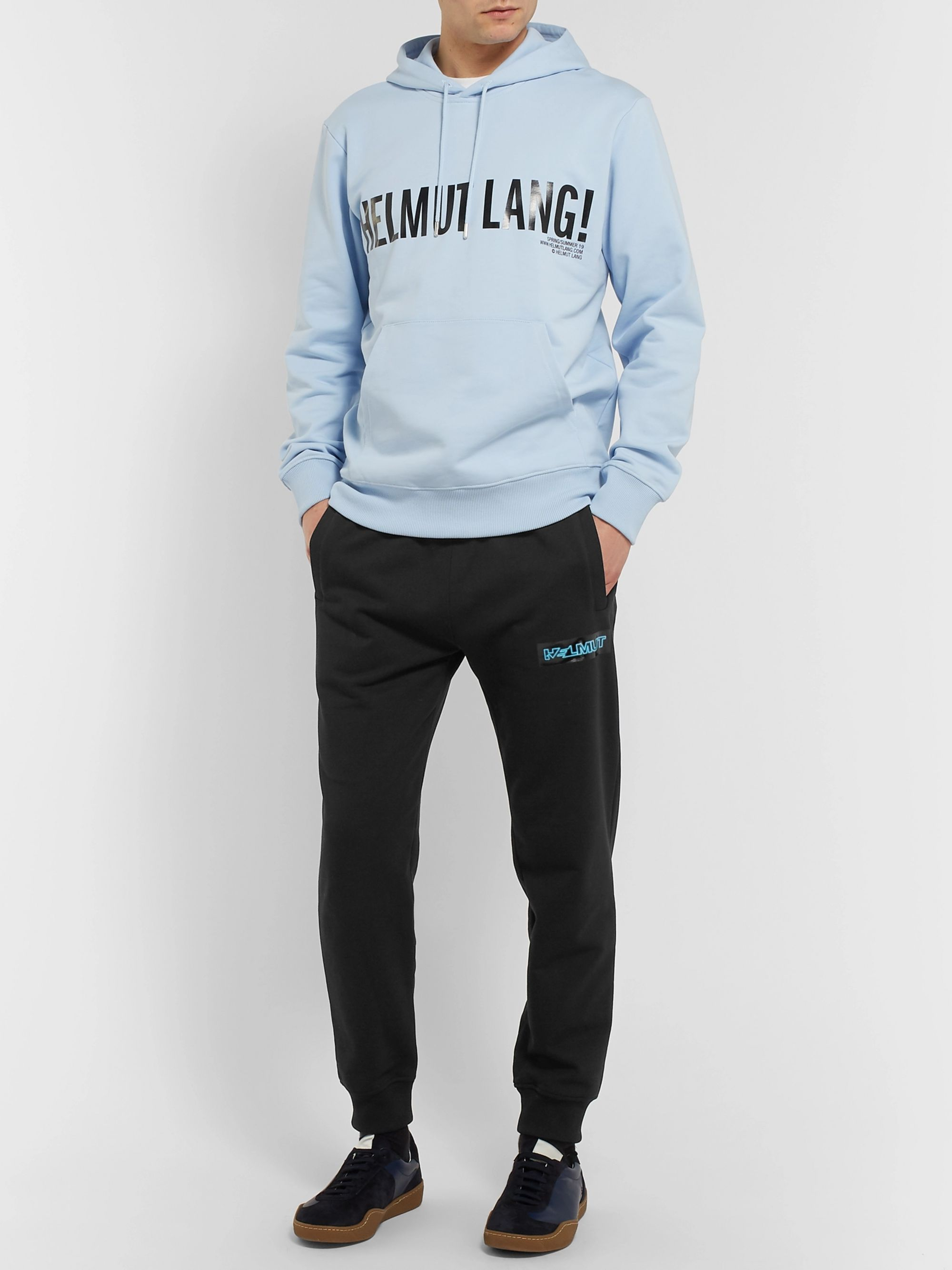 Helmut Lang Slim-Fit Tapered Logo-Print Cotton-Jersey Sweatpants