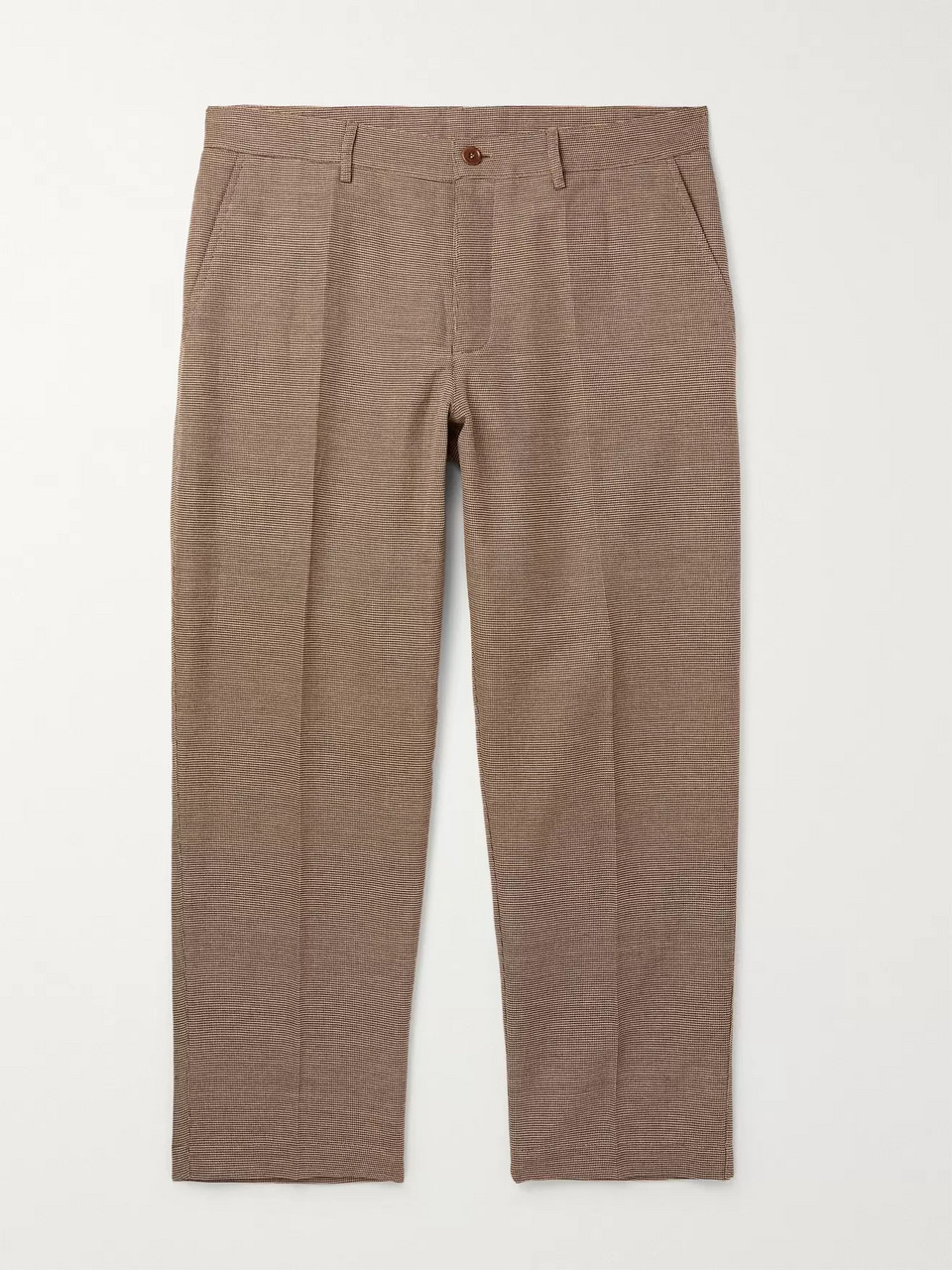 YMC Cropped Checked Cotton-Blend Trousers