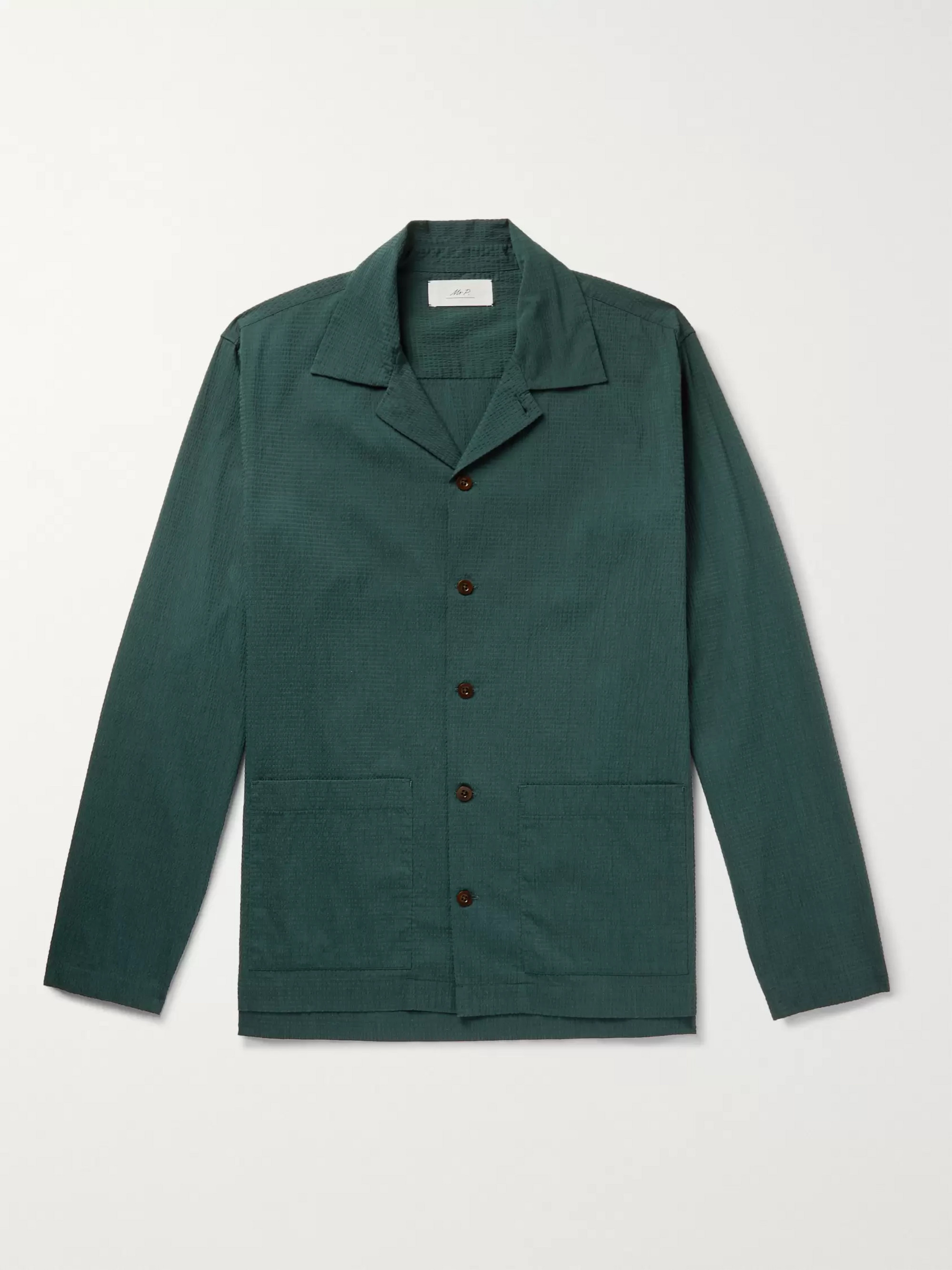 Mr P. Camp-Collar Cotton-Blend Seersucker Shirt