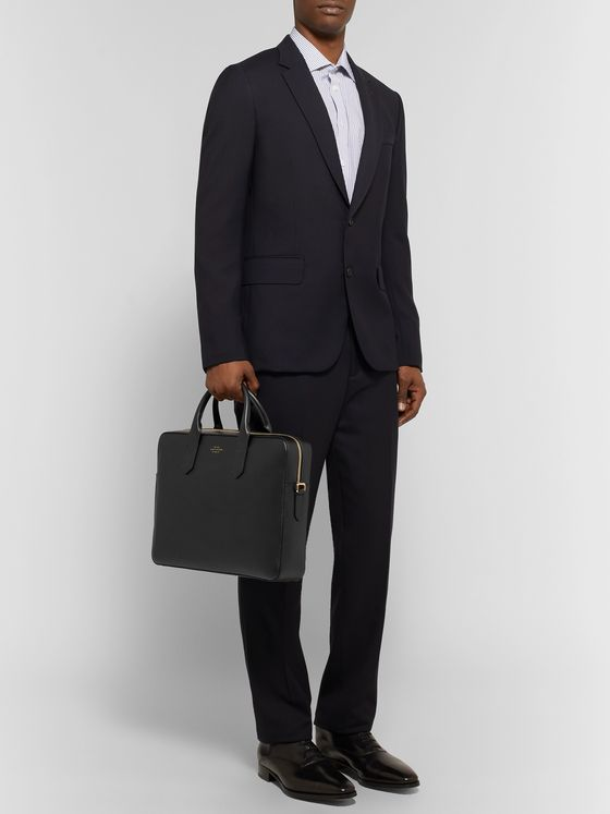 Smythson Panama Cross-Grain Leather Briefcase