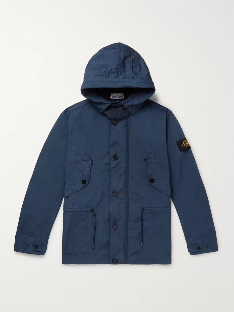Stone Island Logo-Appliquéd Garment-Dyed Shell Hooded Jacket