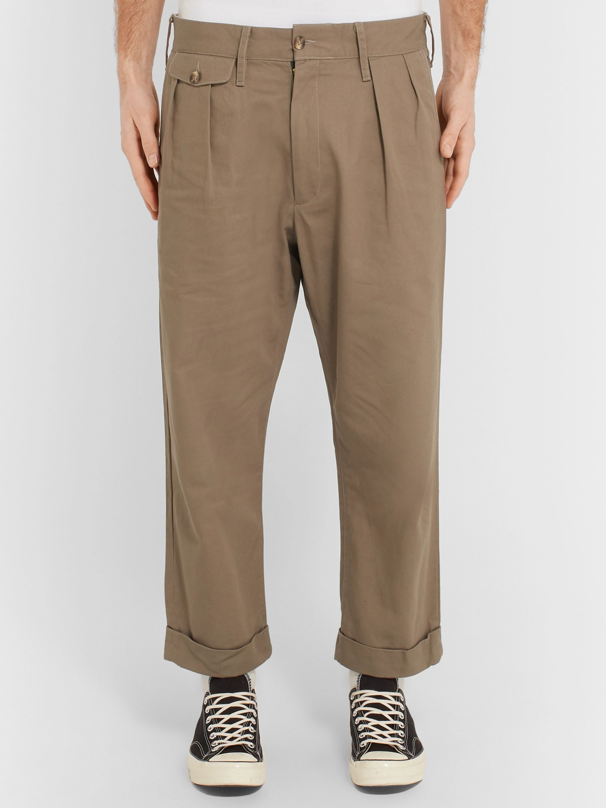 The Workers Club Tapered Pleated Cotton-Twill Chinos