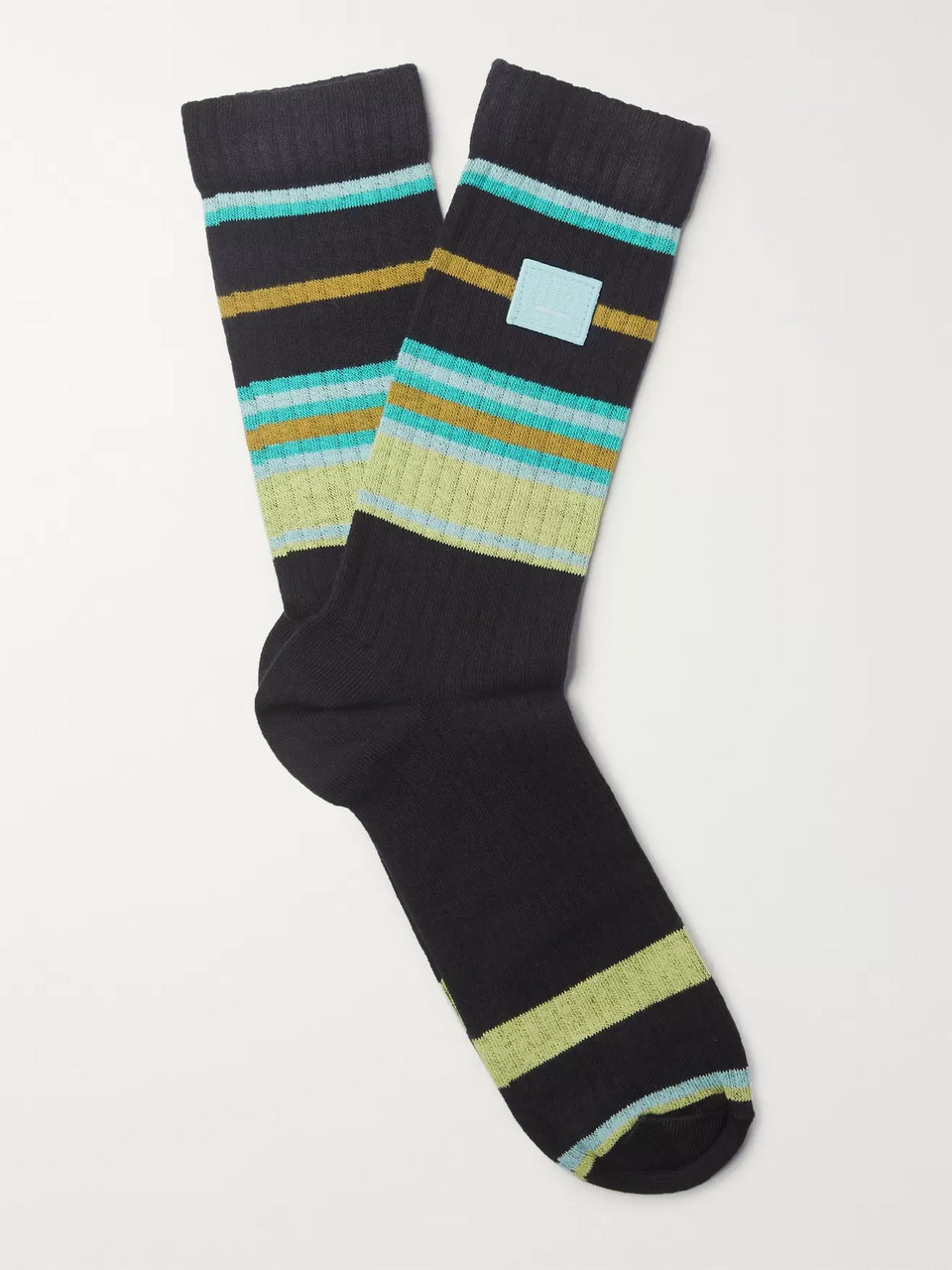 d92d02eee1e Acne Studios Ribbed Striped Stretch Cotton-Blend Socks