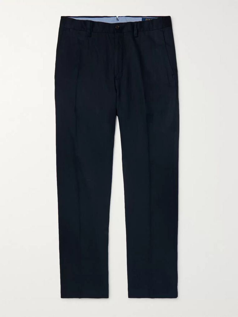Polo Ralph Lauren Navy Linen, Lyocell and Cotton-Blend Trousers