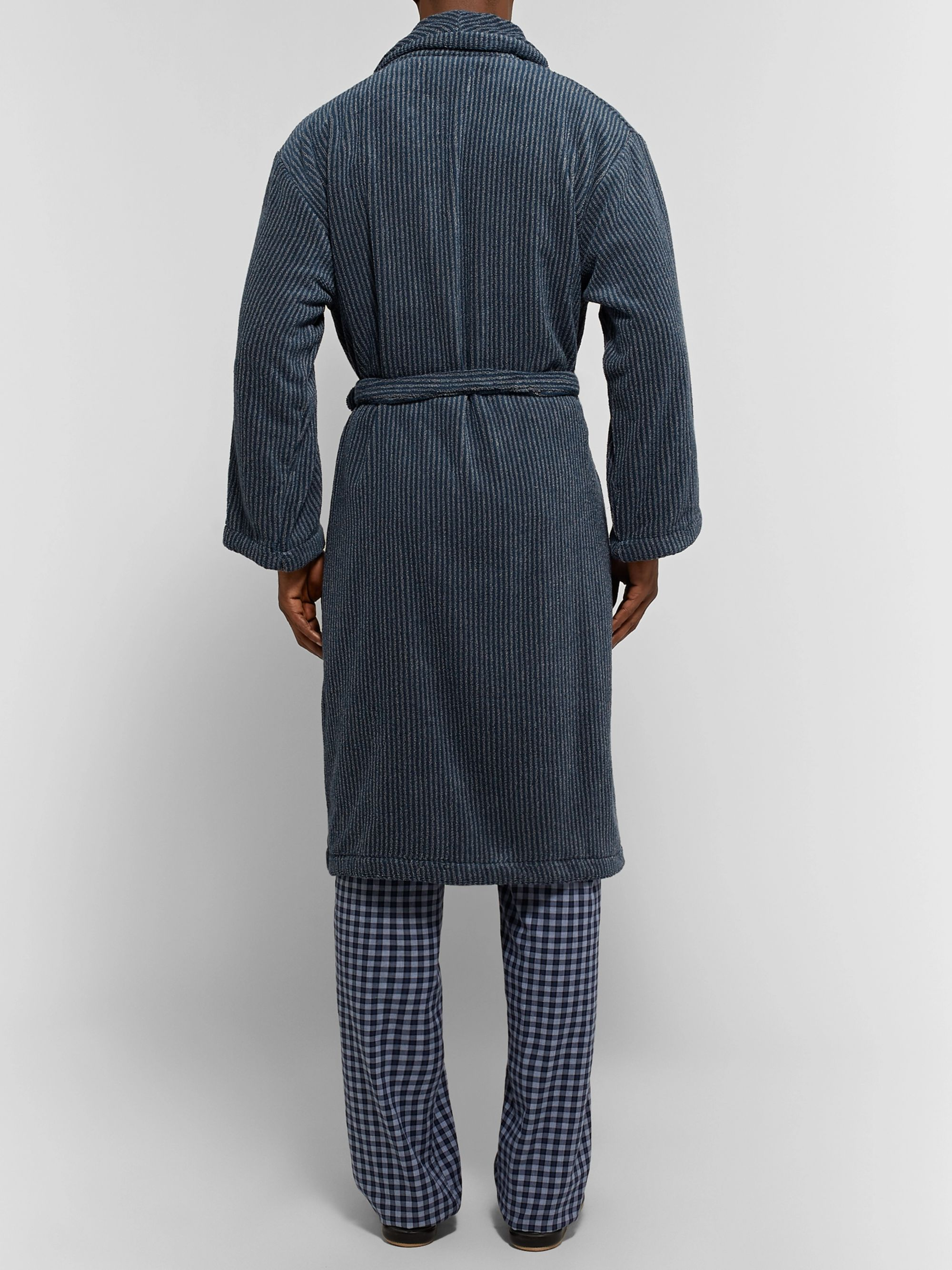 Cleverly Laundry Striped Cotton-Terry Robe