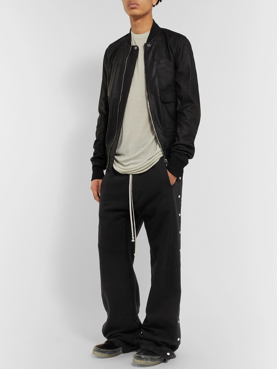Rick Owens Felpa Wide-Leg Snap-Detailed Cotton-Jersey Drawstring Trousers