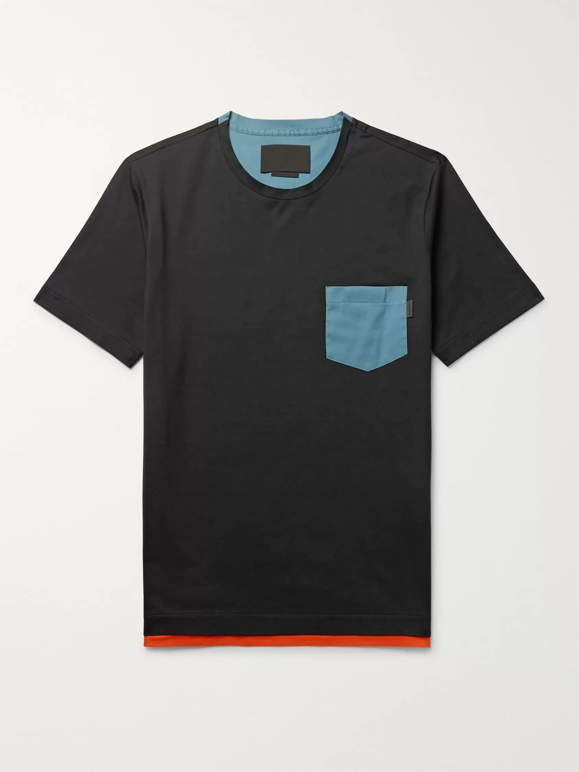 Poplin Trimmed Stretch Cotton Jersey T Shirt by Prada