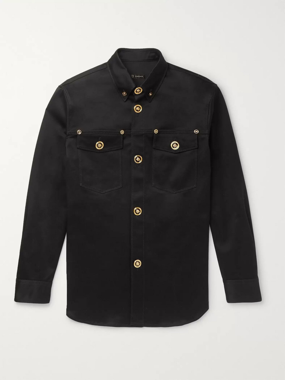 Versace Button-Down Collar Stretch-Cotton Gabardine Overshirt