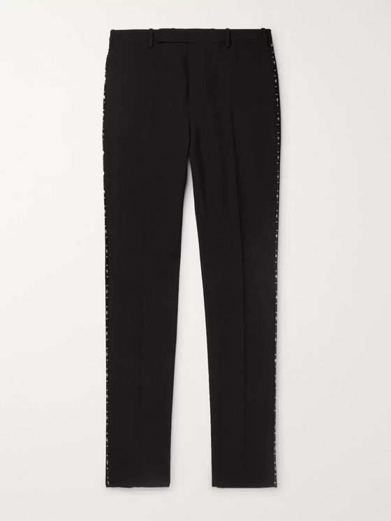 SAINT LAURENT Black Slim-Fit Embellished Wool Trousers