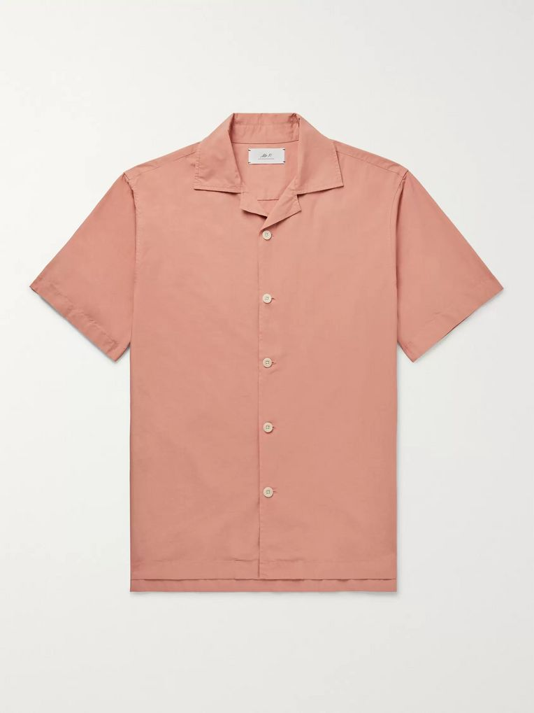 Mr P. Camp-Collar Garment-Dyed Cotton Shirt