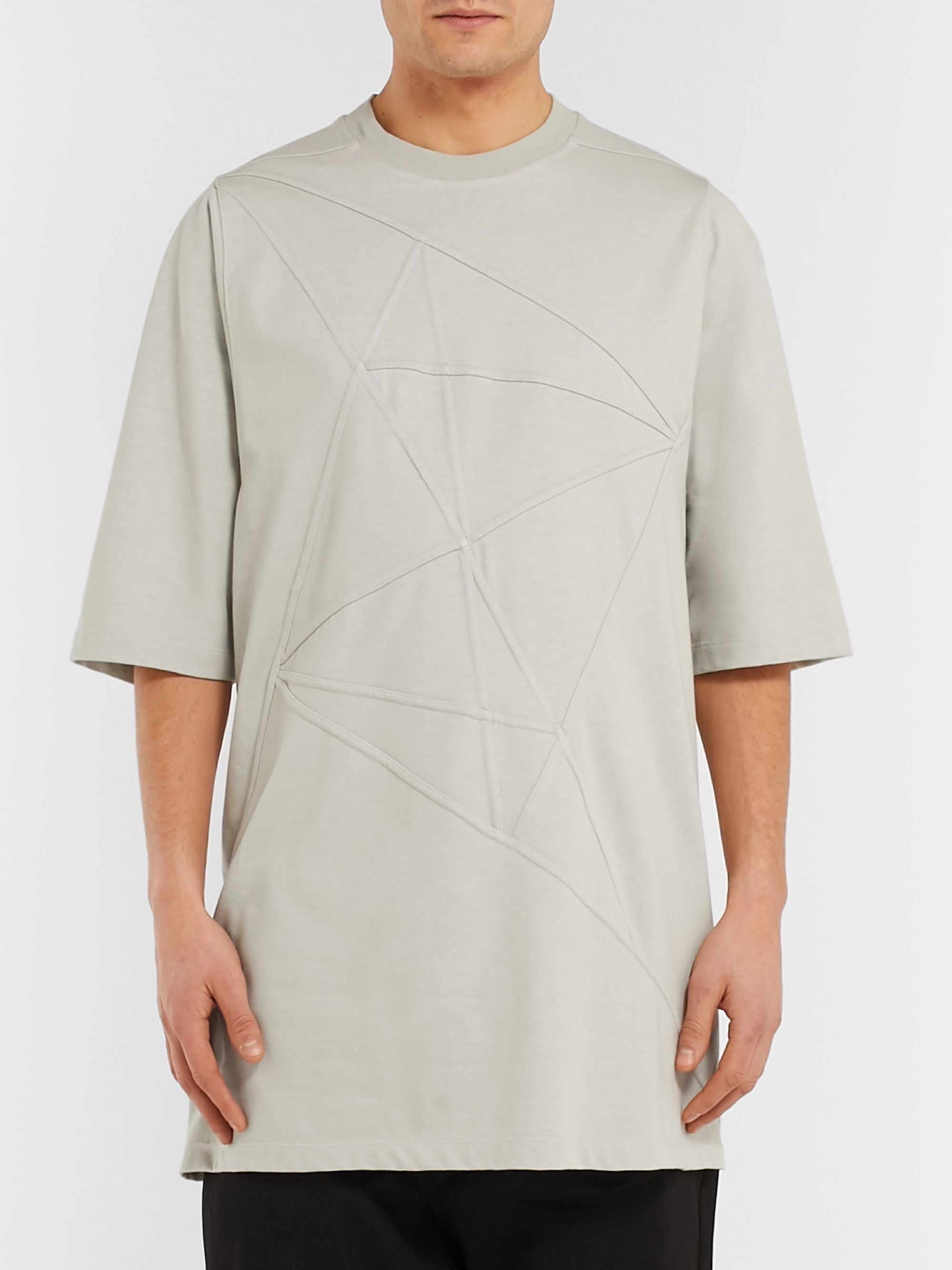 Rick Owens Oversized Panelled Cotton-Jersey T-Shirt
