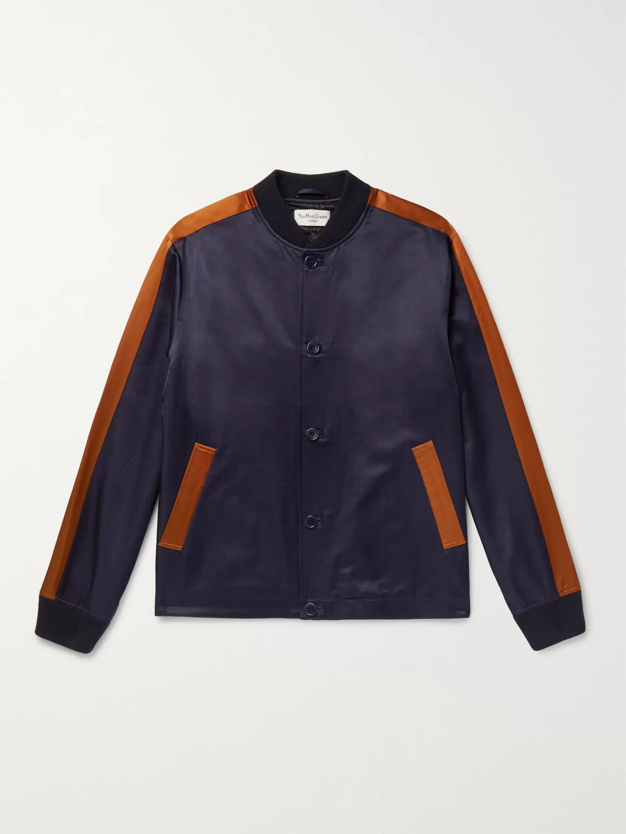 YMC Striped Cotton-Blend Satin Bomber Jacket