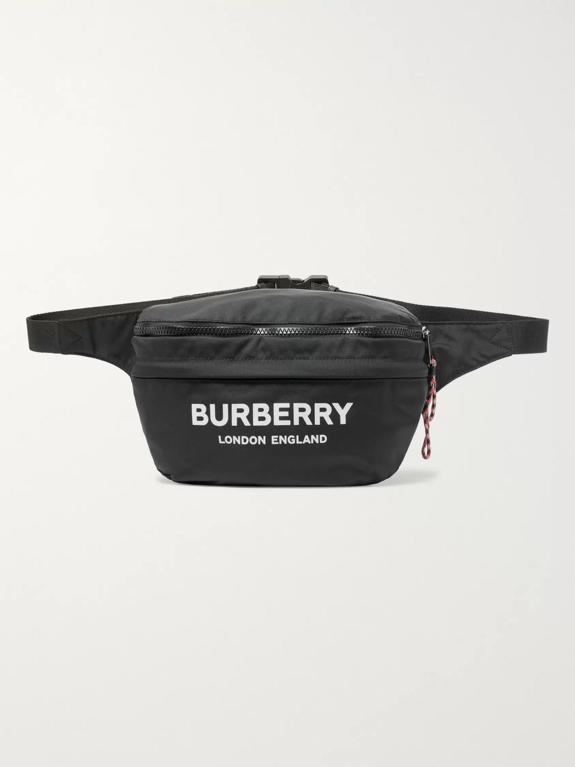 Burberry Logo-Print Convertible Canvas and Shell Belt Bag