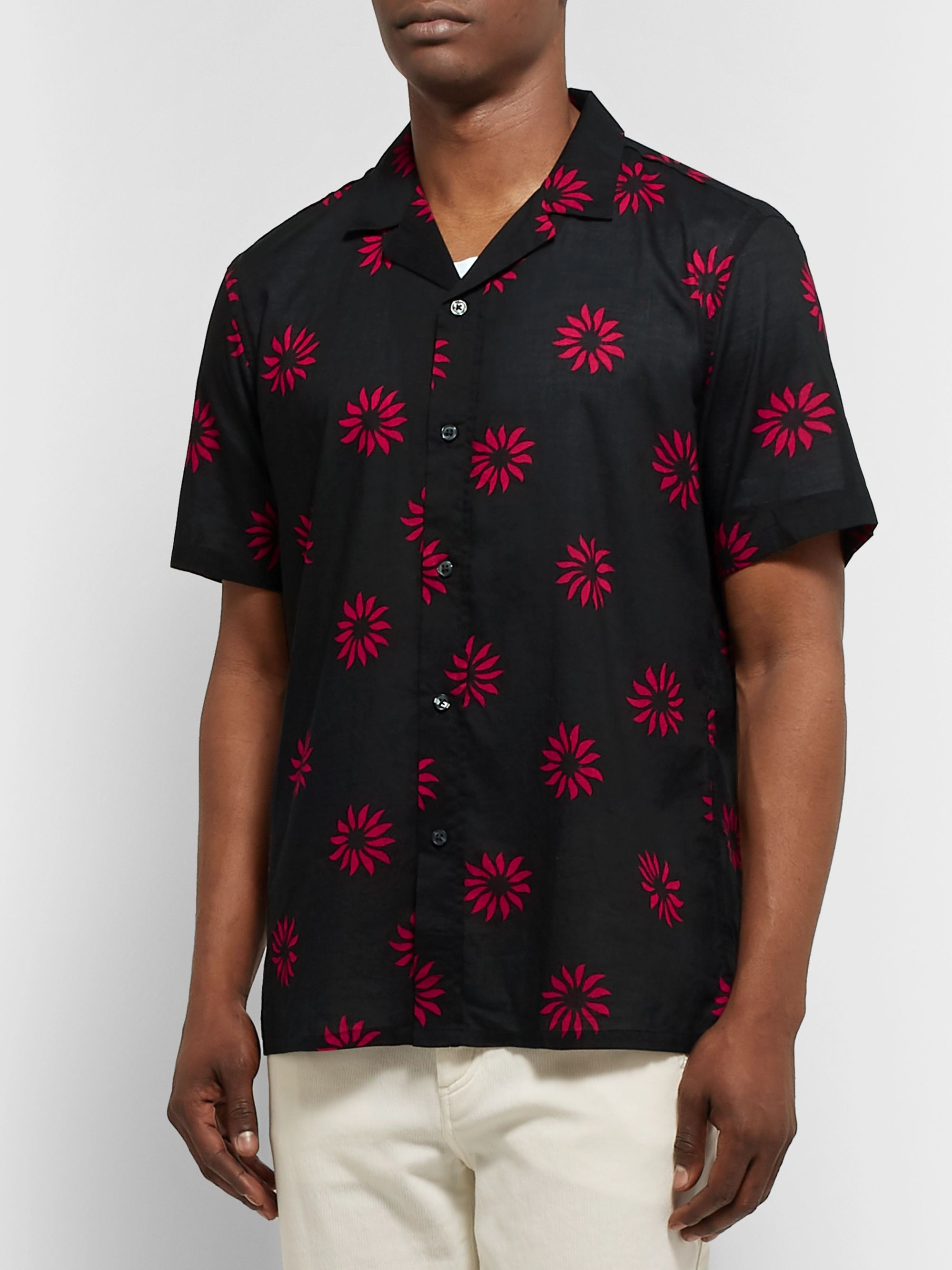 Club Monaco Slim-Fit Camp-Collar Printed Cotton Shirt