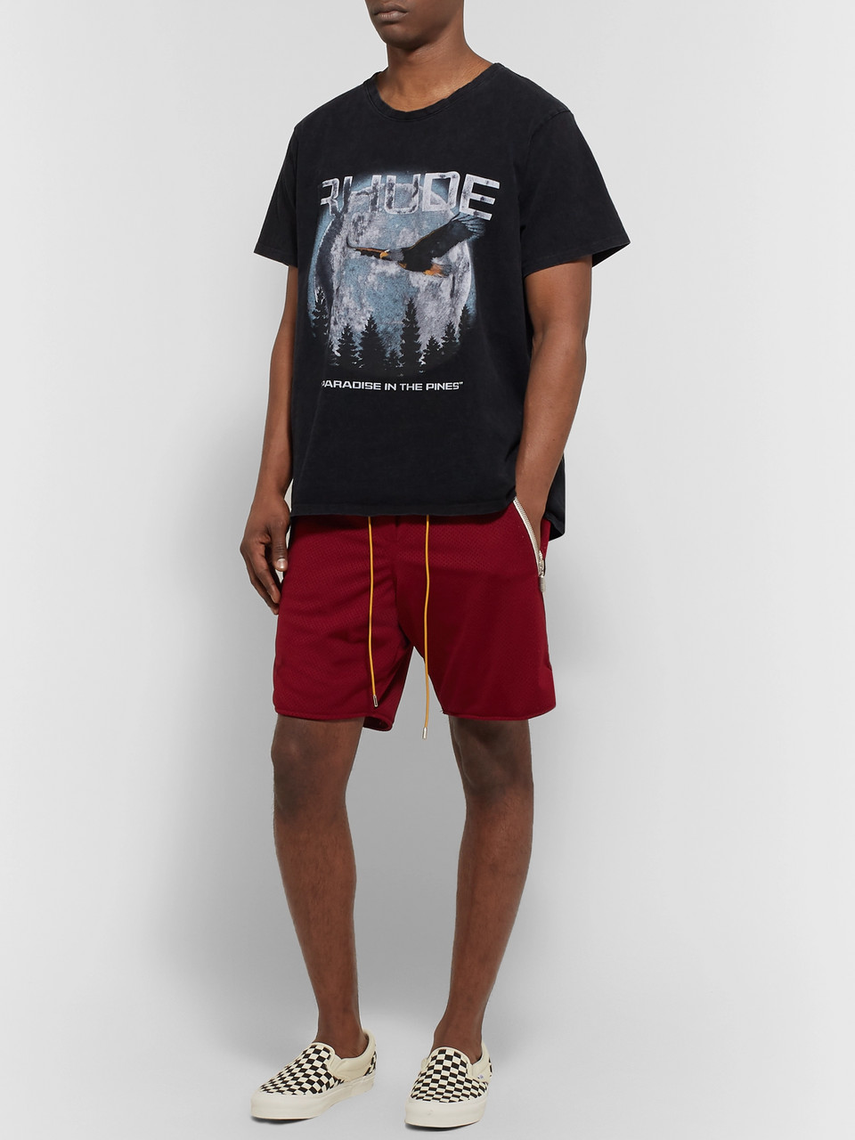Rhude Wide-Leg Nylon-Mesh Drawstring Shorts