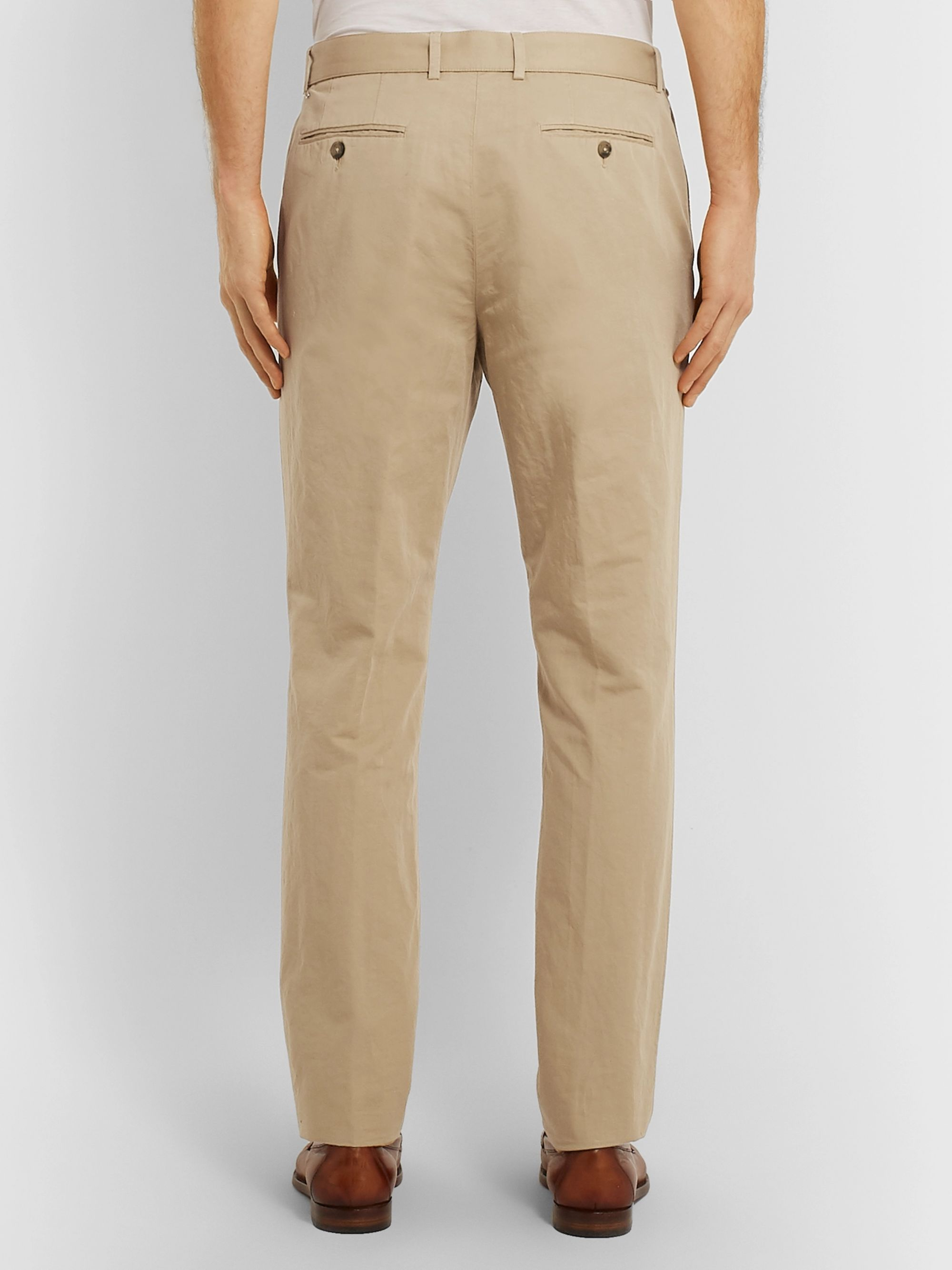 Officine Generale Tan Slim-Fit Garment-Dyed Cotton and Linen-Blend Suit Trousers