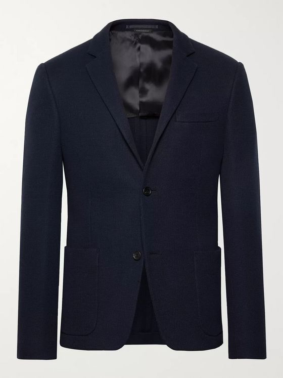 Prada Storm-Blue Slim-Fit Cotton-Piqué Blazer