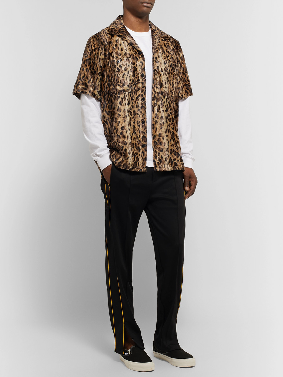 Neighborhood Camp-Collar Leopard-Print Faux Fur Shirt