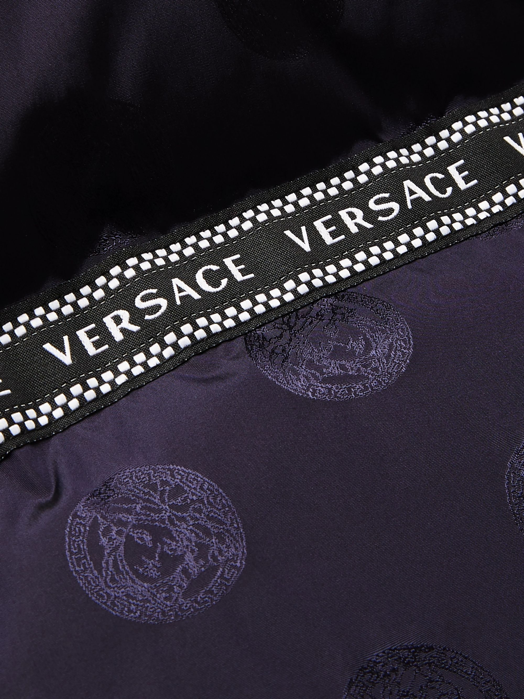 Versace Logo-Trimmed Quilted Nylon-Jacquard Hooded Down Jacket