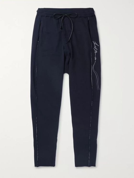 Isabel Benenato Logo-Embroidered Knitted Sweatpants