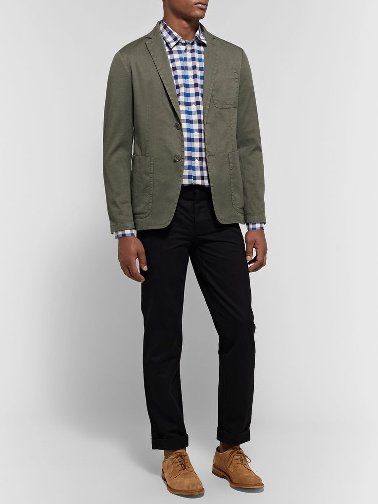 Barena Army-Green Maranto Slim-Fit Stretch Linen and Cotton-Blend Blazer